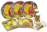 HEKU 30005 Set di stoviglie monouso per feste, con piatti, bicchieri e tovaglioli, 120 pezzi, Plastica, Party Time, 40x29x7 cm