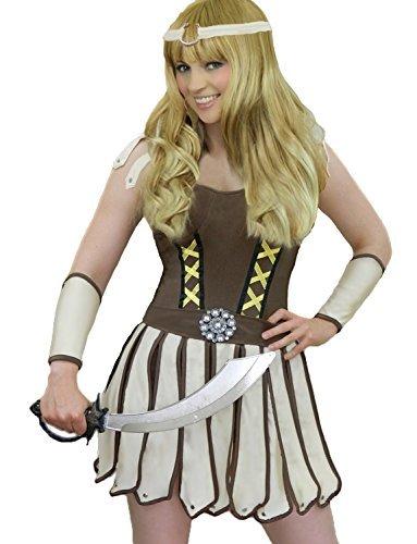 Das Gute Leben Damen Xena Krieger/Kämpfer Römische Göttin Kostüm Kleid Arm-Hülsen und Stirnband Größe 38 (Xena Krieger Kostüme)