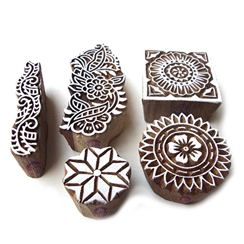 Original Round and Floral Pattern Wood Stamps for Printing (Set of 5)