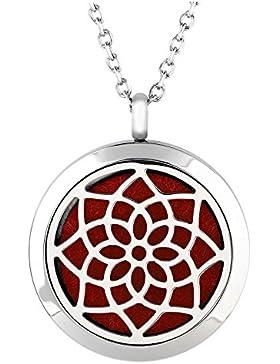 JOVIVI Edelstahl Aromatherapie Ätherische Öle Diffusor Halskette Lotus Blume Floating Medaillon Locket Anhänger...