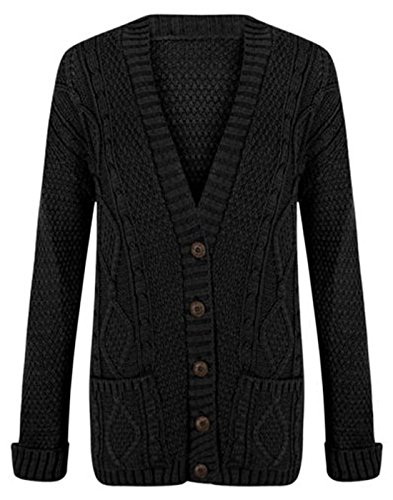 Classy Trendz-Womens Plus Size Übergroße Langarm Chunky Kabel Gestrickte Freund Button Up (SM, BLACK) (Womens Black Button Up Cardigan)