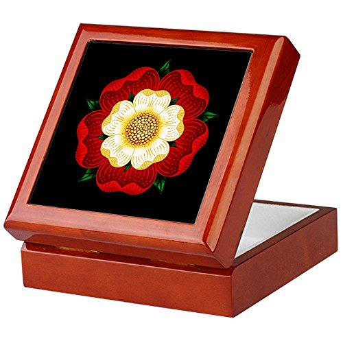 CafePress-Aufbewahrungsbox, Tudor-Rose, aus beschichtetem Hartholz, mit Samt gefüttert, für Schmuck und Erinnerungsstücke mahagoni