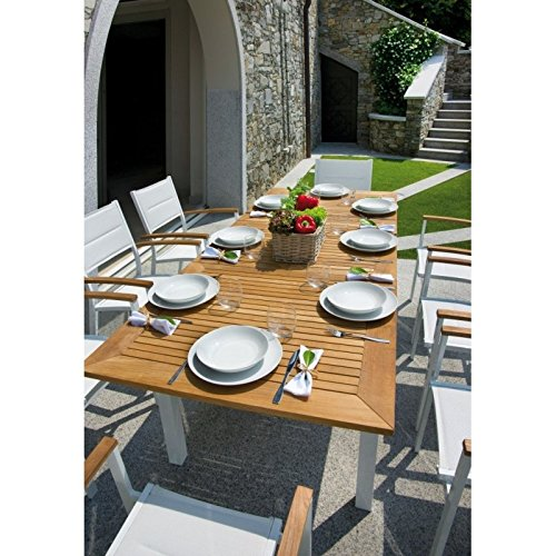 Table de jardin extensible en teck et aluminium Ivoire Ajaccio