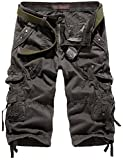 Mochoose Homme Pantalons Courts Coton de L'été Vintage Cargo Travail Casual 3/4 Shorts Multi Pockets Sport et Loisir(Gris Foncé,36)