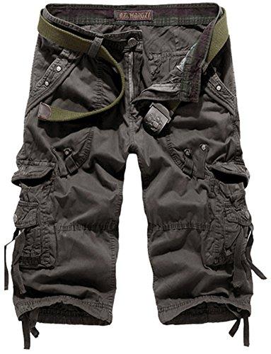 Mochoose Herren Sommer Casual Cotton Twill Cargo Shorts 3/4 Multi Taschen Outdoor tragen Hosen(Dunkelgrau,31) (Cargo-badeanzug)