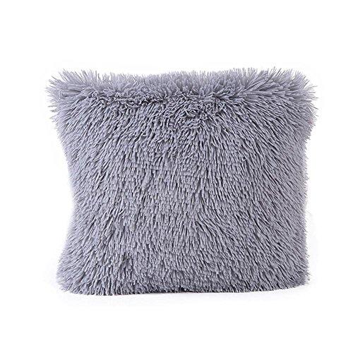 Squre Pillowcase,Kingko® Women Bedding Plush Fashion Decoration Pure Color  Pillow Covers For Car Sofa Cushion Cases (Gray)
