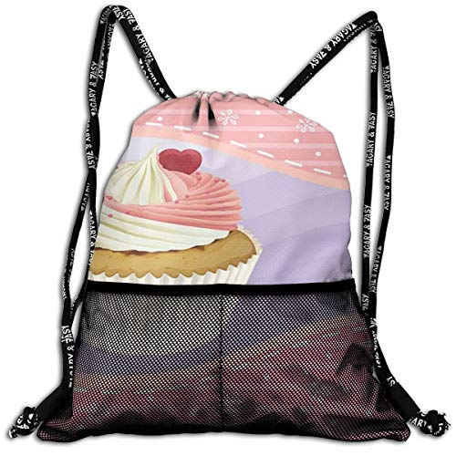 RAINNY Drawstring Backpacks Bags,Yummy Cake with Creamy Topping Sprinkles and A Heart Between Pink Floral Borders,5 Liter Capacity,Adjustable (Sprinkles Pink Glitter)