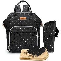 Multifunción pañal bolsa de pañales cambiador de viaje, gran capacidad mochila bolsa reutilizable, ligero elegante Durable Mochila con bolsillo botella aislante para mamá y papá(Bodian Negro)