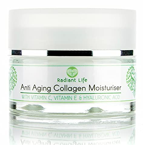 Anti Aging Moisturiser Cream - with Marine Collagen, Peptides, Vitamin E, Vitamin C and Hyaluronic Acid - The Best Anti Ageing Night Cream Collagen Booster for Face - Reduces Wrinkles, Lifting, Rejuvenating and Firming whilst Deeply Hydrating