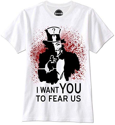 PHUNKZ MAGLIETTA T SHIRT UNCLE SAM ANONYMOUS OCCUPY WALLSTREET ANTI USA FEAR US GUY FAWKES, L