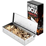 BBQ Smoker Box for Chips & Wood Smokers,Top Meat Smoke Box in Barbecue Accessories,Stainless Steel Smoker Box for Gas…