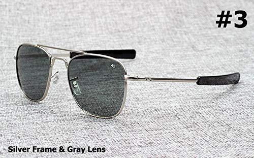 Gafas De Sol Piloto Militar del Ejército Americano De La Marca Gafas De Sol De 54 Mm De La Lente De Cristal Óptico Gafas De Sol Negro