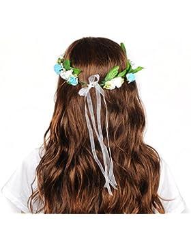 HanLuckyStars Diadema Corona Flores Hecho de Mano para Cabello Garland Halo Accesorios para el cabello Elegante...