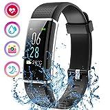 Mpow Fitness Tracker IP68 Smartwatch Orologio Cardiofrequenzimetro da Polso, Pedometro, Monitoraggio del Sonno, Braccialetto Fitness Donna Uomo Bambini per iPhone Huawei Xiaomi Android iOS, Nero