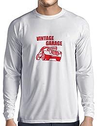lepni.me Camiseta de Manga Larga para Hombre Garaje Vintage - Equipo de Taller,