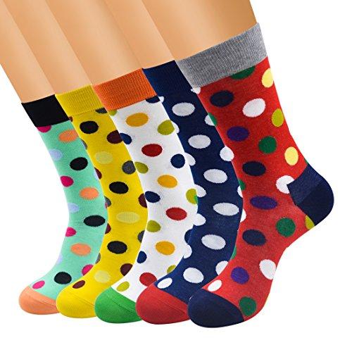 FULIER Mens 5 Pack Baumwolle Rich Smart Design Bunte bequeme Kleid Calf Socken UK 6-13 EUR 39-47 (Punkt) - Herren Leichtes Kleid Socken