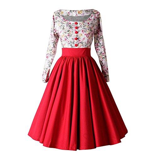 VEMOW Herbst Frühling Elegante Damen Abendkleid Cocktailkleid Frauen Vintage Ärmel O-Ausschnitt Abenddruck Partei Lässig Prom Geschäft Swing Dress(X1-Rot, EU-34/CN-M)