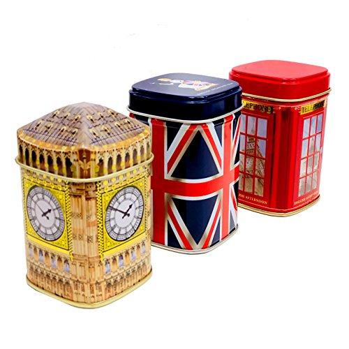 Exklusive English Tea?London Erinnerungen, 3x 50g Tee Metall Caddys Kombination Geschenk Pack?1160