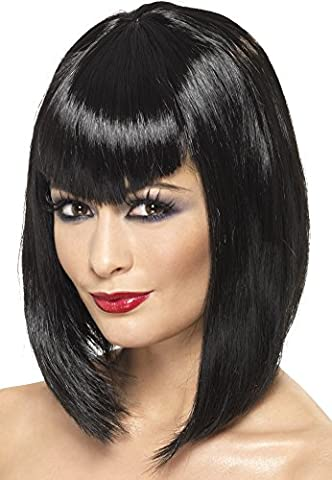 Smiffy's Women's Short Black Blunt Angle Wig with Bangs, One