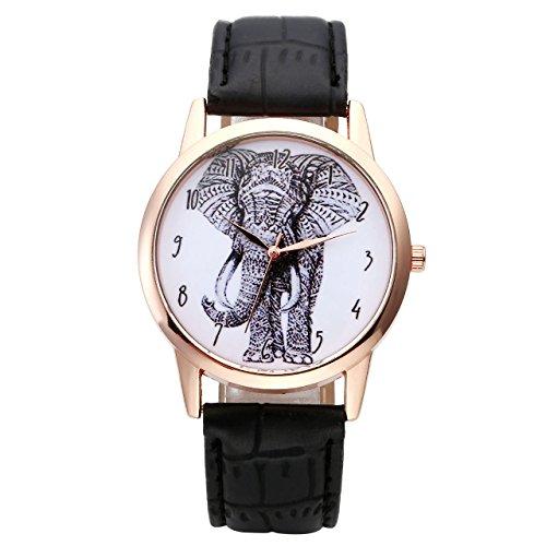 JSDDE Uhren Set,Vintage Damen Armbanduhr Elefant+Organ Herz+Blumen Damenuhr Basel-Stil Analog Quarzuhr 3x Uhren - 4