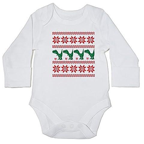 hippowarehouse Dinosaurier Weihnachten Muster Baby Body (Langarm) Jungen Mädchen Gr. 56, weiß