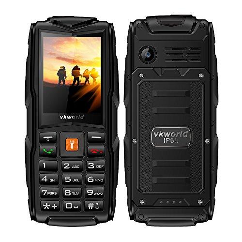 Smartphone VKworld Stone v3 Telefon 2,4-Zoll-Display, IP68 wasserdicht, Staubbeständigkeit, bruchfest (große SIM-Karte mit großer Taste, 2MP-Kamera) (Schwarz)