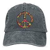 Eriesy Gorra de béisbol Hip Hop Sombreros Unisex Daisy Peace Sign Washed Denim Baseball Caps Hip Hop Hat Adjustable Snapback