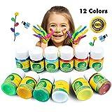 Magicdo pintura de dedos lavable, 12 color de rayas Kids Juego de brochas, 1 oz de boca ancha botellas de artes, oficios y carteles, Fingerpaint Kit, perfecto para regalo de Pascua (12 30 ml)