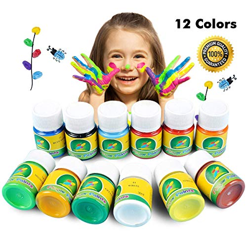 (Magicdo Waschbare Fingerfarbe, 12 Farben Kinder Lack Set, 1 Unze Weithals Flaschen für Kunst, Handwerk und Poster, Finger Paint Kit, Perfekt für Ostern Geschenke (12FarbenX 30 ml))