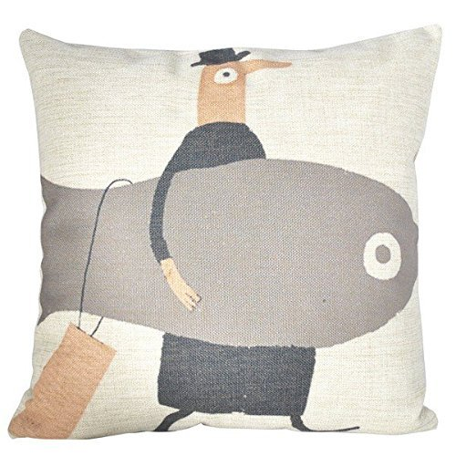 B LYSTER Boutique 18 x 18 Men with A Big Fish Pillow Case Cushion Cover