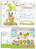 JuNa-Experten 12 Einladungskarten Zum 5. Kindergeburtstag für Mädchen Incl.12 Umschläge / Bunte Einladungen Zum Geburtstag für Mädchen lustige Tiere (12 Karten + 12 Umschläge)