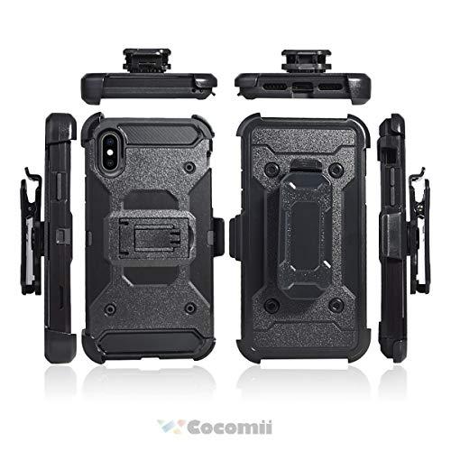 Cocomii Dark Knight Armor iPhone XS Max Hülle NEU [Strapazierfähig] Gürtelclip Ständer Stoßfest Gehäuse [Militärisch Verteidiger] Ganzkörper Case Schutzhülle for Apple iPhone XS Max (DK.Black) - Apple Iphone Holster