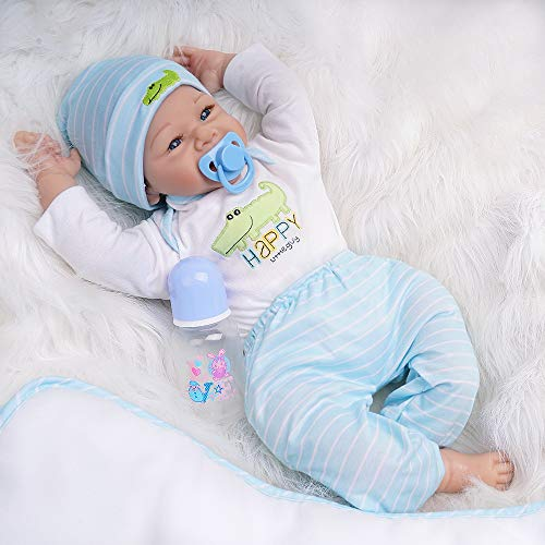 Yesteria Reborn Baby Doll Junge Lebensechtes Kleinkind Silicone Weiß Outfit 55cm
