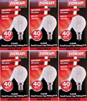 6 x EVEREADY 40W Mini Globes Clear Round Light Bulbs, SES E14 Small Screw, G45/P45 Golf Ball Incandescent Classic Lamps, 400 lm, S931, Mains 240V from EVEREADY