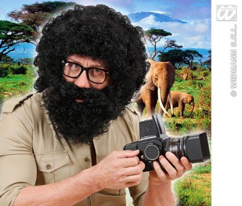 warz Afro Perücke & Bart Troll Alan aus der Hangover Explorer Fancy Kleid (Alan Hangover Perücke)