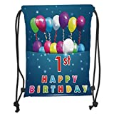 Drawstring Backpacks Bags,1st Birthday Decorations,Balloons with Stars Image in a Pocket Party Theme,Dark Blue Pink and Purple Soft Satin,5 Liter Capacity,Adjustable String Closure