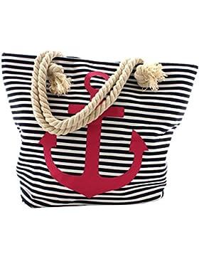 Sonia Originelli Shopper Strandtasche Kordel Seil Streifen Anker Anchor Maritim T021-AN-RV