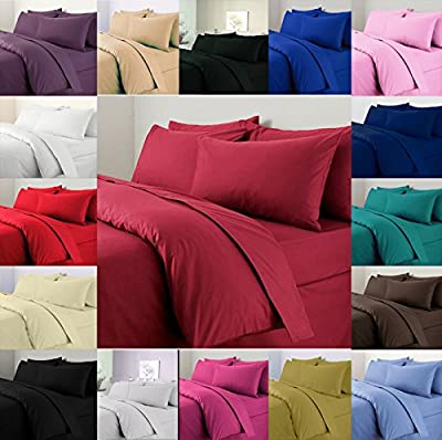 Plain Duvet Cover With Pillow Cases Non Iron Percale Quilt Cover Bedding Bedroom Set - low-cost UK light shop.