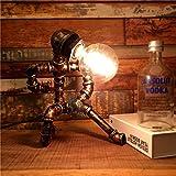 Pointhx Vintage Wasserpfeife Edison Tischlampe Steampunk Schmiedeeisen Schreibtisch Licht hohe Helligkeit E27 1-Kopf Tisch Laterne Home Bar Schlafzimmer Dekor Leuchte