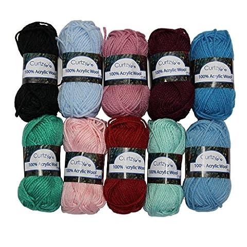 Bumper pack of knitting yarn wool 10x25g balls skeins by Curtzy TM