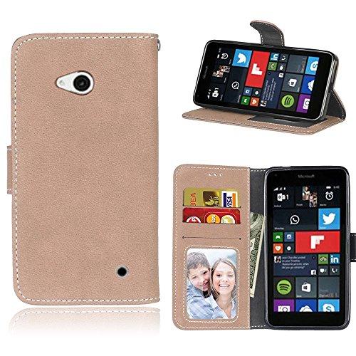 SATURCASE Microsoft Lumia 640 Hülle, Retro Mattiert PU Leder Flip Magnetverschluss Brieftasche Standfunktion Schützend Tasche Schutzhülle Handycover für Nokia/Microsoft Lumia 640 LTE (Beige)