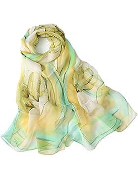 Emulación pañuelos de seda Mujer Mantón Bufanda Moda Chals Señoras Elegante Estolas Fular 63'' x 19.7''