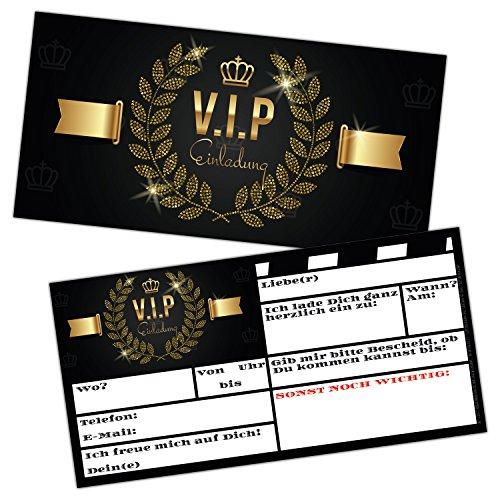 V.I.P EINLADUNG Kartenset XL (24 Stück) Premium Einladungskarten zum Ausfüllen - edel in Schwarz & Gold ideal für VIP Party, Silvester, Einweihung, Kinder-Geburtstag für Jungen, Mädchen & Erwachsene