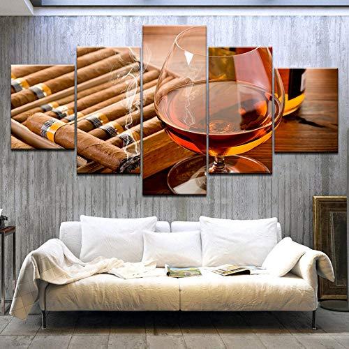 ter Moderne Wohnkultur Wohnzimmer Schlafzimmer 5 Stücke EIS Wein Glas Zigarre Leinwanddruck Malerei, Framed 40X60 40X80 40X100cm ()