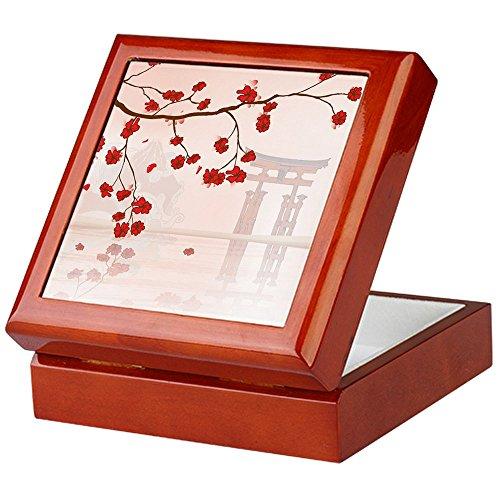 CafePress-Pretty Cherry Blossom gegen ein Japanisches backgroun-Keepsake Box, fertig Hartholz Jewelry Box, Samt Gefüttert Memento Box mahagoni -