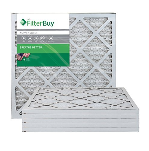 FilterBuy 21x22x1: AFB Silver MERV 8 21x22x1 Pleated AC Furnace Air Filter. Pack of 6 Filters. 100% produced in the USA