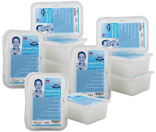 Kosmetex Paraffinwachs Neutral Parfümfrei Paraffin, Natural Paraffinbad mit niedrigeren Schmelzpunkt, 10x 500ml Neutral