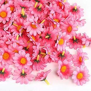 Naler 120 Margaritas Artificiales Pequeñas Cabezales de Flores Artificiales Decoración Boda, Fiesta, DIY Manualidades, Color Rosa