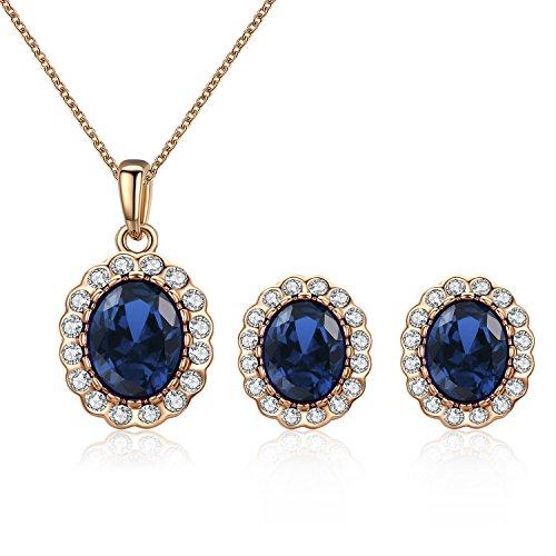 SWAROVSKI ELEMENTS 18k vergoldet Ovale Saphir Blau Kristall Mode-Schmuck-Set Anhänger und Ohrringe