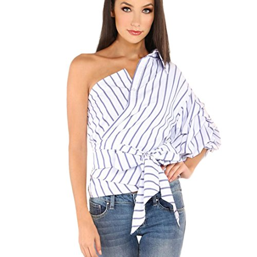 women-tops-bestow-summer-one-shoulder-half-puff-sleeve-striped-blouses-t-shirts-bow-slim-waist-tops-